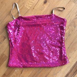 Pink Sequins Crop Top